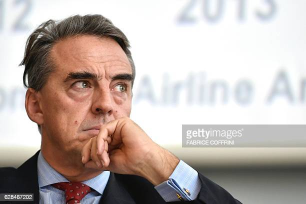 International Air Transport Association Director General and CEO Alexandre de Juniac looks on during the IATA global media day on December 8 2014 in...