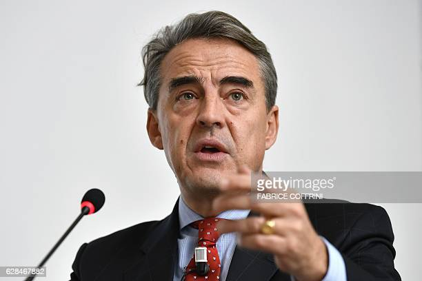 International Air Transport Association Director General and CEO Alexandre de Juniac delivers a speech during the IATA global media day on December 8...