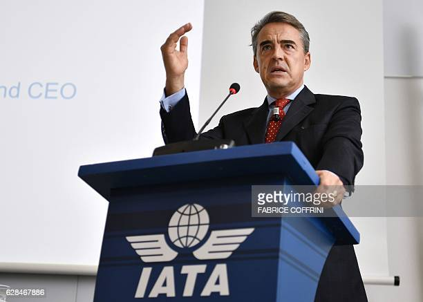 International Air Transport Association Director General and CEO Alexandre de Juniac delivers a speech during the IATA global media day on December...