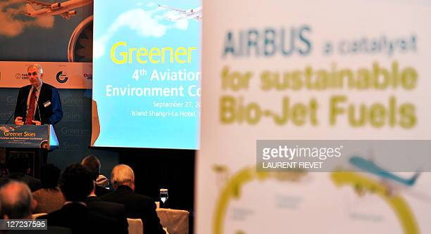 International Air Transport Association director general and chief executive Tony Tyler delivers his address during the 4th Aviation and Environment...