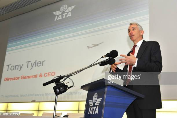 International Air Transport Association new Director General and CEO Tony Tyler speaks during the IATA's media day on December 7, 2011 in Geneva. AFP...