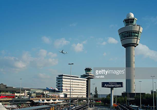 international airport schiphol in amsterdam, holland - tower stock pictures, royalty-free photos & images