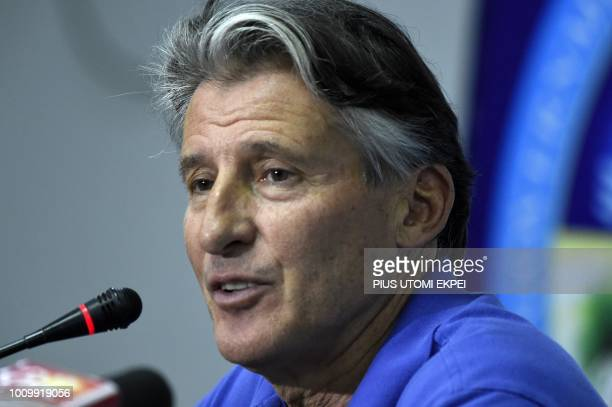 International Association of Athletics Federations President Sebastian Coe speaks during a news conference at the Africa Athletics Championships in...