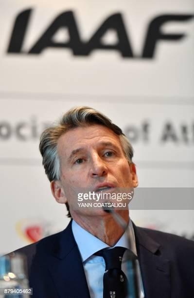 International Association of Athletics Federations President Sebastian Coe addresses a press conference in Monaco on November 26 2017 The world...