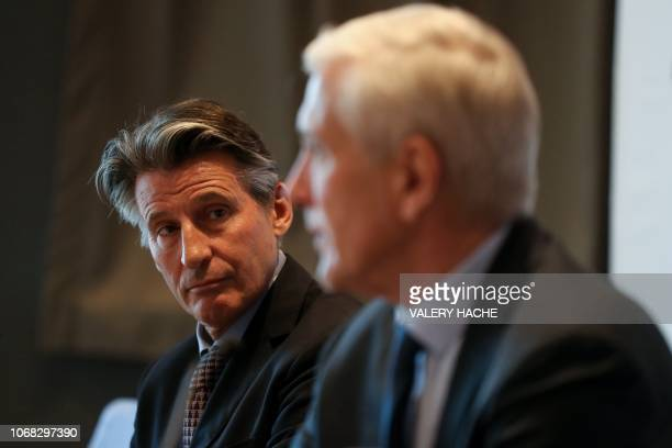 International Association of Athletics Federations President Sebastian Coe and Independent chairperson of the IAAF Taskforce for Russia Rune Andersen...