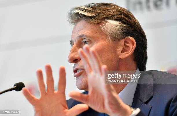 International Association of Athletics Federations President Sebastian Coe gestures as he addresses a press conference in Monaco on November 26 2017...