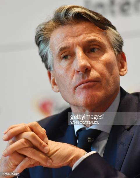 International Association of Athletics Federations President Sebastian Coe looks on during a press conference in Monaco on November 26 2017 The world...