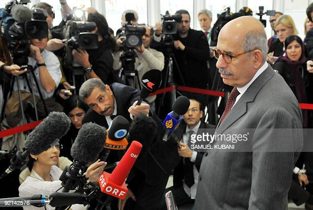 International Atomic Energy Agency Director General Mohammed El Baradei gives short speech after the meeting of representatives from France, Iran,...
