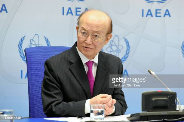 International Atomic Energy Agency Director General Yukiya Amano attends a press conference following the Board of Governors meeting on June 10, 2019...