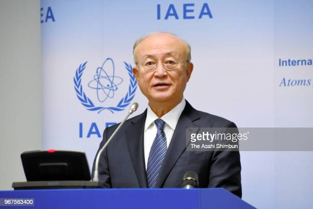 International Atomic Energy Agency Director General Yukiya Amano speaks during a press conference on June 4, 2018 in Vienna, Austria.