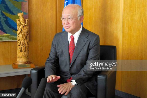 International Atomic Energy Agency Director General Yukiya Amano speaks during the Asahi Shimbun interview at the IAEA headquartes on September 15...