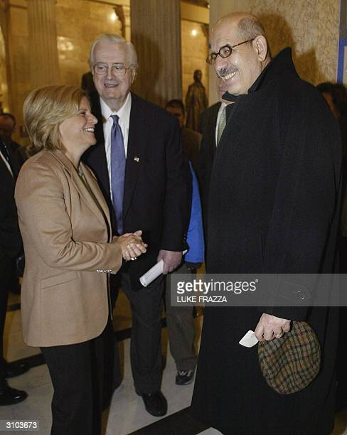 International Atomic Energy Agency's chief Mohamed ElBaradei meets 17 March 2004, with members of the House International Relations Committee Middle...