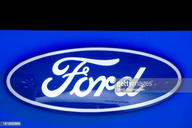 International Automobile Exhibition the logo of the US automobile producer Ford on September 16 2013 in Frankfurt Germany