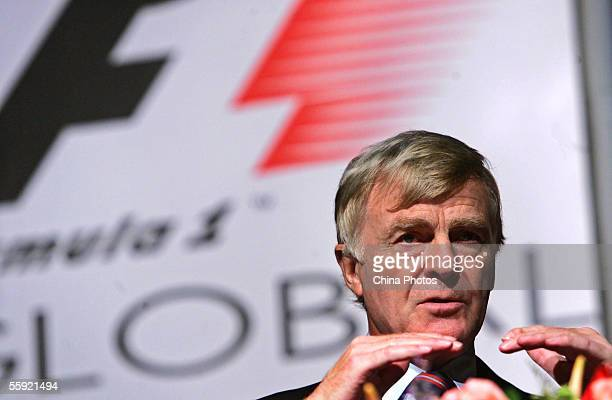 International Automobile Federation President Max Mosley attends the first-ever Formula One Global Business Conference in 55 years on October 14,...