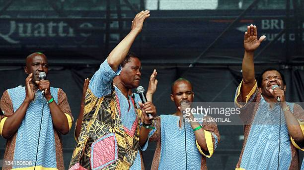 International award group Ladysmith Black Mambazo performers render a song in honour of the late Environmentalist activist Wangari Maathai during the...