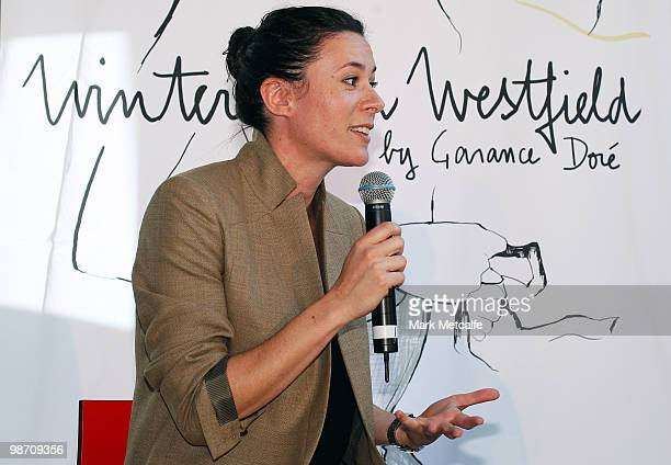 International blogger Garance Dore is interviewed during the Garance Dore Winter With Westfield Designer Installation launch at Westfield Bondi...