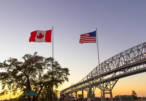 International Blue Water Bridge Crossing Between Port Huron Michigan And Sarnia Ontario 1126897734
