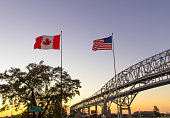 International Blue Water Bridge Crossing Between Port Huron Michigan And Sarnia Ontario