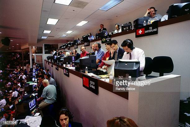 International Broadcasters report the action during Game Five of the 1998 NBA Finals between the Utah Jazz and the Chicago Bulls at United Center on...