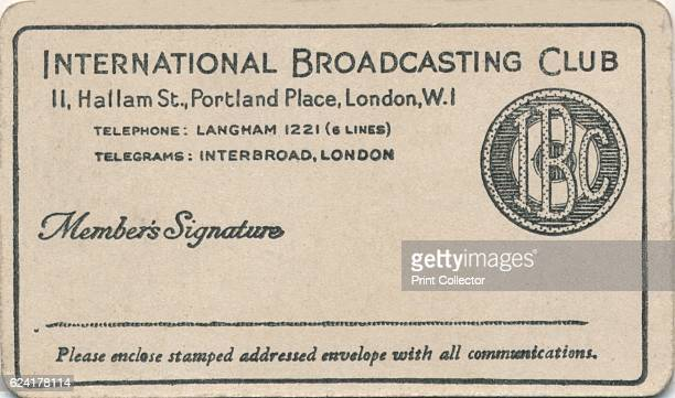 Membership card' c1930s The International Broadcasting Club Card was formed in 1932 and was free to joinArtist Unknown