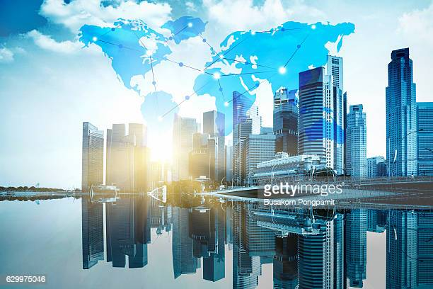 International business concept background with network