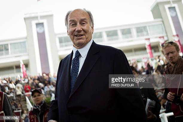 International business magnate and racehorse owner and breeder Prince Aga Khan is pictured prior to the 91st edition of the Prix De L'Arc De Triomphe...