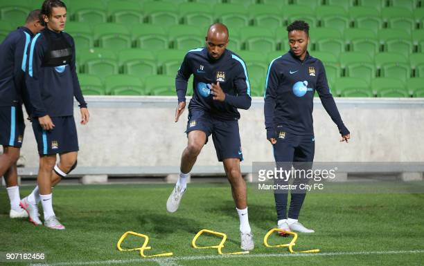 International Champions Cup Manchester City v Real Madrid Manchester City Training Melbourne Manchester City's Fabian Delph and Raheem Sterling...