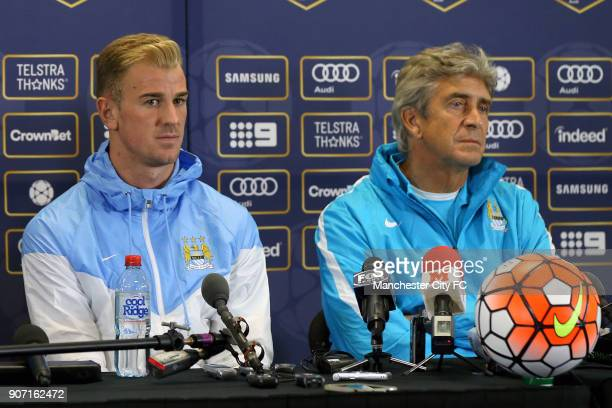 International Champions Cup Manchester City v Real Madrid Manchester City Press Conference Melbourne Manchester City's Joe Hart and manager Manuel...