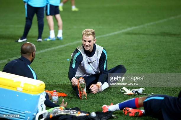 International Champions Cup Manchester City v Real Madrid Manchester City Training Melbourne Manchester City's Joe Hart talks with Fabian Delph...