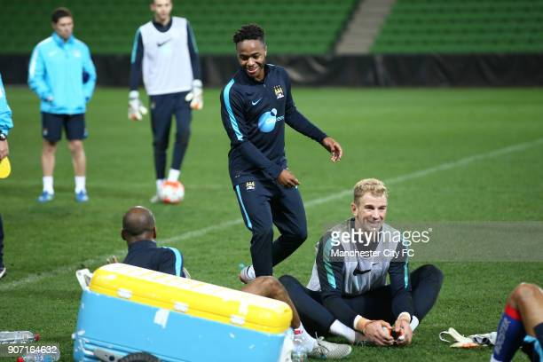 International Champions Cup Manchester City v Real Madrid Manchester City Training Melbourne Manchester City's Raheem Sterling Joe Hard and Fabian...