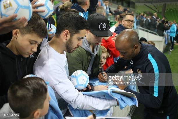 International Champions Cup Manchester City v Real Madrid Manchester City Training Melbourne Manchester City's Fabian Delph signs autographs for fans