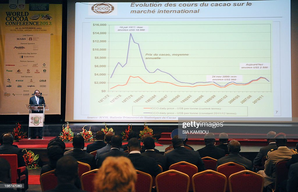 International Cocoa Organization (ICCO)'s CEO, Jean-Marc Anga gives a speech during the opening of the 2012 World Cocoa conference in Abidjan. Ivory Coast on Tuesday hosts world players in the cocoa business for a conference on how to face up to the challenges posed by soaring demand.
