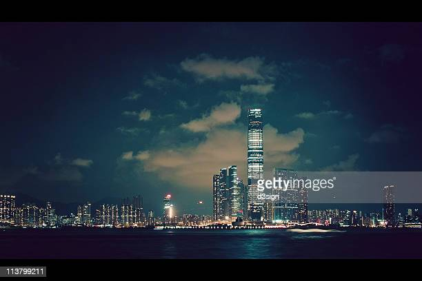 international commerce centre icc at union square - kowloon peninsula stock pictures, royalty-free photos & images