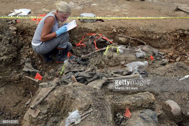 International Commission on Missing Persons forensic archaeologist Renee Kosalka from Canada provides works on an excavation at the Budak mass grave...