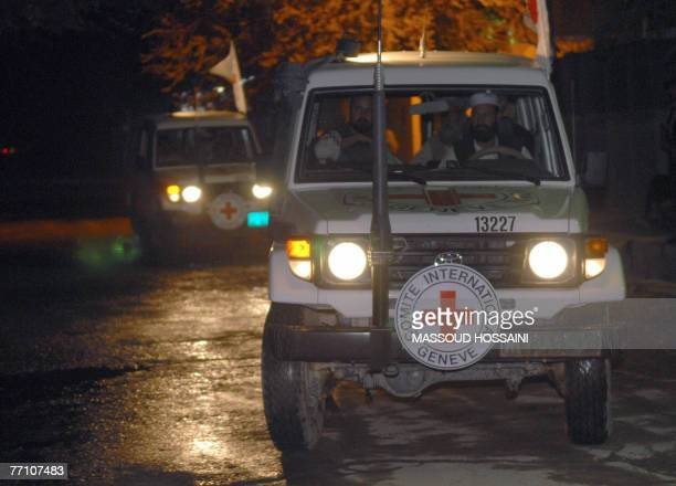 International Committee of the Red Cross vehicles arrive in Kabul 29 September 2007 Afghanistan's Taliban 29 September released four Red Cross...