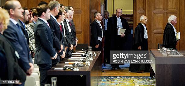 International Court of Justice chief judge Peter Tomka arrives on February 3 2015 in The Hague to hand down the verdict of the ICJ in in a...