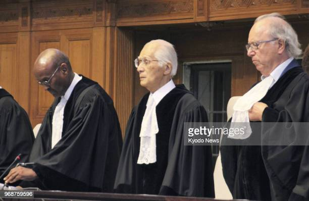 International Court of Justice Judge Hisashi Owada the father of Japanese Crown Princess Masako is pictured at the court in The Hague Netherlands on...