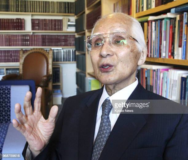 International Court of Justice Judge Hisashi Owada the father of Japanese Crown Princess Masako is interviewed at the court in The Hague Netherlands...