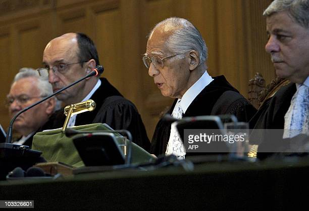 International Court of Justice's President Hisashi Owada speaks during the trial of the declaration of independence of Kosovo on July 22 2010 in the...