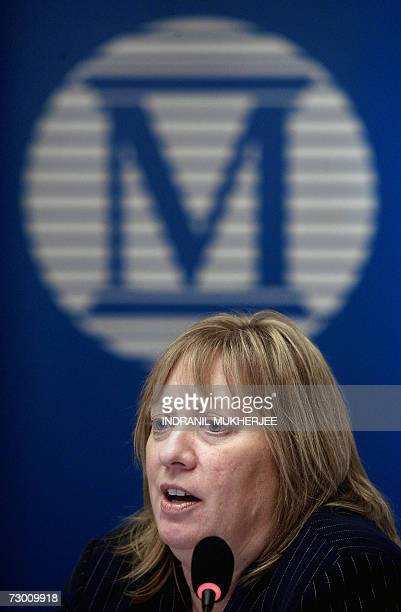 International credit rating agency Moody's Vice President Kristin S Lindow addresses a press conference on 'India's Sovereign Rating' in Mumbai 16...
