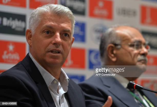 International Cricket Council Chief Executive David Richardson addresses a press conference along with Chairman of Pakistan Cricket Board Najam Sethi...