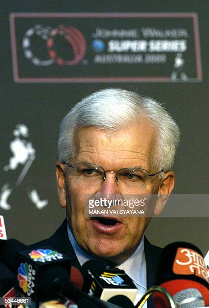 International Cricket Council Chief Executive Malcolm Speed addresses media representatives in New Delhi 22 August 2005 to announce an International...