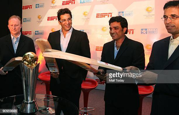 International Cricket Council General Manager Commercial Campbell Jamieson cricketers Wasim Akram Sanjay Manjrekar and commentator Harsha Bhogle pose...