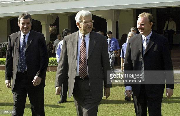 International Cricket Council President Malcolm Speed along with two unidentified delegates arrives for the ICC meeting at the Cricket Club of India...