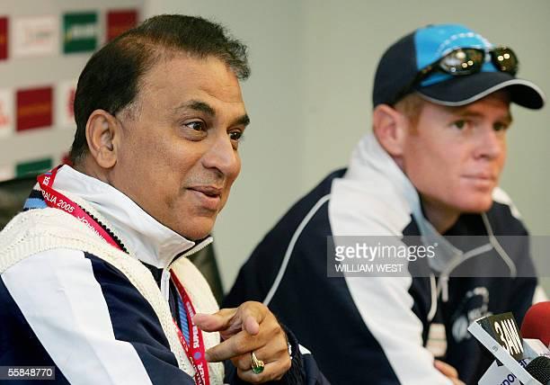 International Cricket Council World XI cricket team director Sunil Gavaskar speaks to the media as captain Shaun Pollock listens in Melbourne, 04...