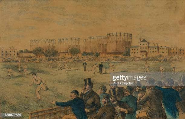International Cricket Match at Kennington Oval', late 19th century. Male spectators at a cricket match at the Oval cricket ground in Lambeth, south...