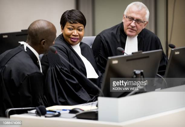 International Criminal Court chief prosecutor Fatou Bensouda and deputy prosecutor James Stewart attend the initial appearance before judges of...
