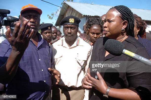International Criminal Court chief prosecutor Fatou Bensouda speaks to Internally Displaced Persons in Nakuru 140km northwest of Nairobi as she tours...