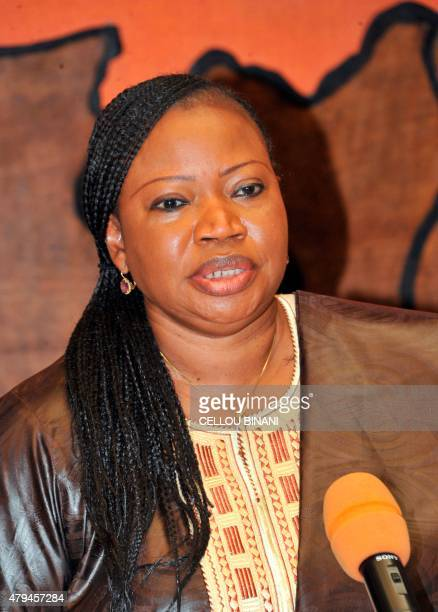 International Criminal Court chief prosecutor Fatou Bensouda speaks during a meeting on July 4 in Conakry on the last day of her threeday visit in...