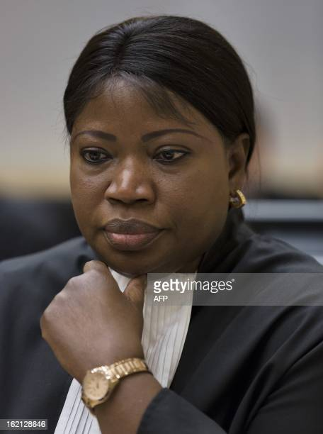 International Criminal Court Prosecutor Fatou Bensouda attends on February 19 2013 the hearing of former Ivory Coast President Laurent Gbagbo before...